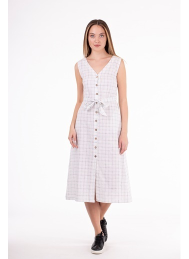 Stamina  Bayan Çift V Yaka Kolsuz Elbise-5KTE7 Yeşil
